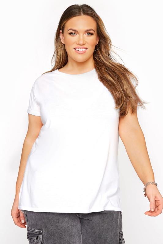 Plus Size  White Topstitch Short Sleeve T-Shirt