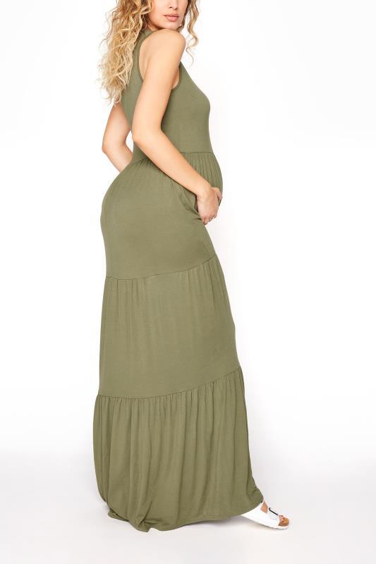 LTS Maternity Khaki Tiered Maxi Dress_C.jpg