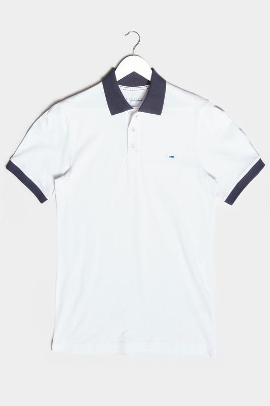 Men's  BadRhino White & Navy Contrast Polo Shirt