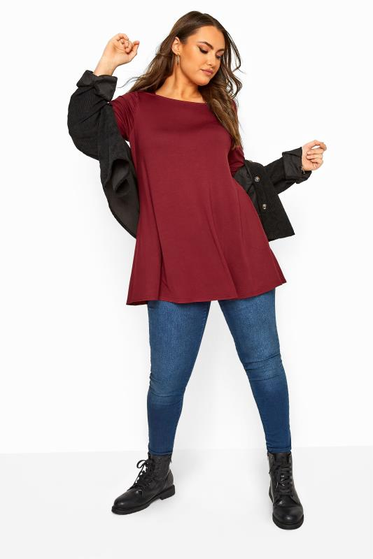 Berry Red Jersey Longline Top