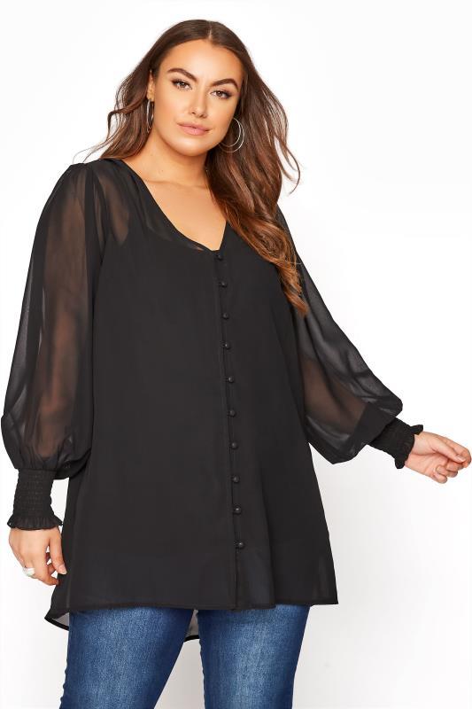 Plus Size  YOURS LONDON Black Balloon Sleeve Blouse
