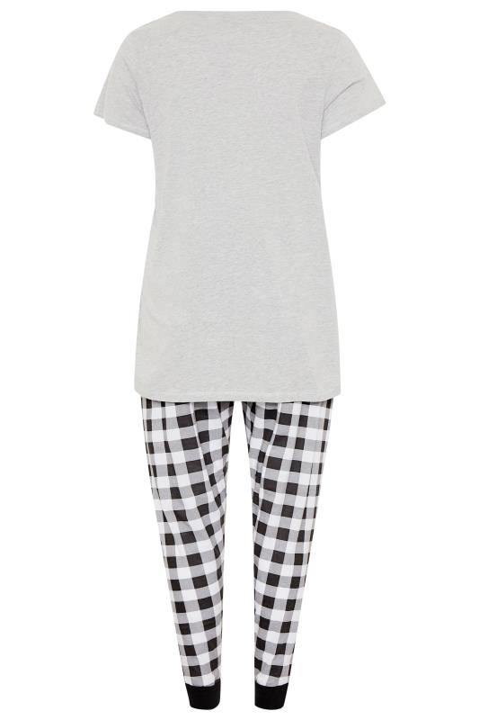 Grey 'Today I Will Shine' Slogan Check Pyjama Set
