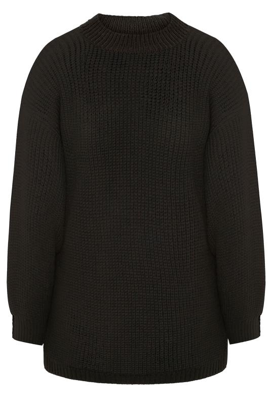 Black Balloon Sleeve Knitted Jumper