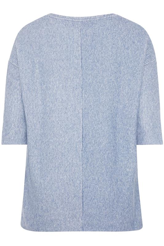 Blue Mock Button Soft Knitted Top