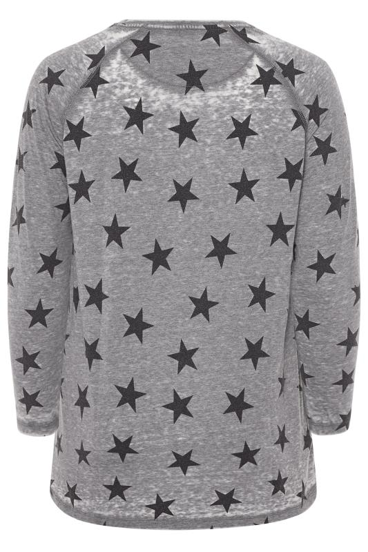 Grey Acid Wash Star Print Top