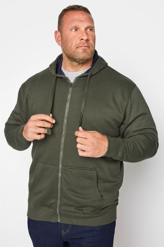 Men's Hoodies KAM Khaki Zip Through Hoodie