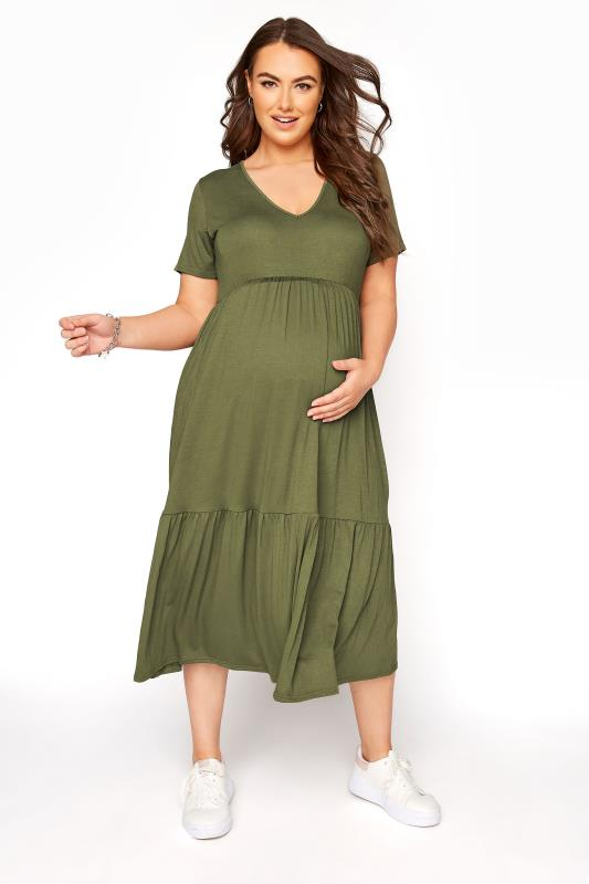 BUMP IT UP MATERNITY Khaki V-Neck Tiered Midi Dress_B.jpg