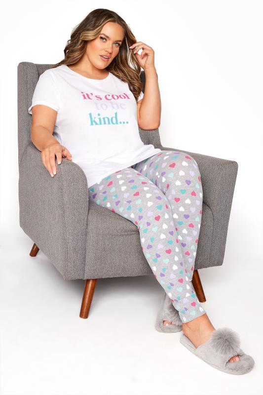 Plus Size  White 'It's Cool To Be Kind' Heart Pyjama Set