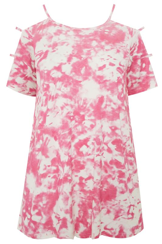 Pink Tie Dye Cold Shoulder Top