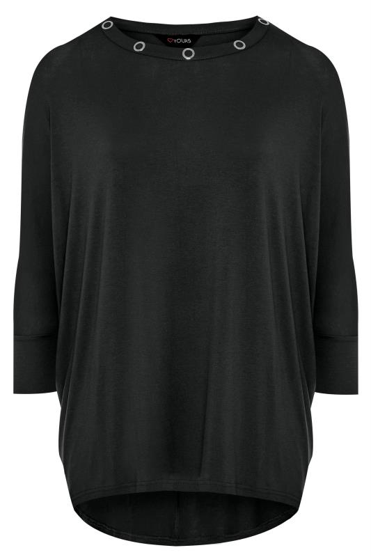 Black Eyelet Extreme Dipped Hem Top