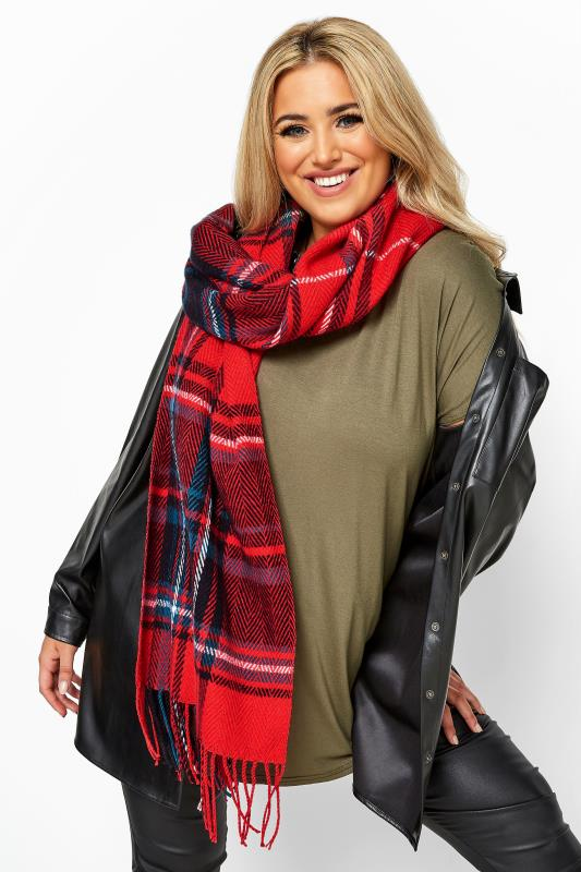 Yours Red Tartan Check Scarf