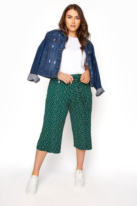 Plus Size  Green Polka Dot Tie Waist Culottes