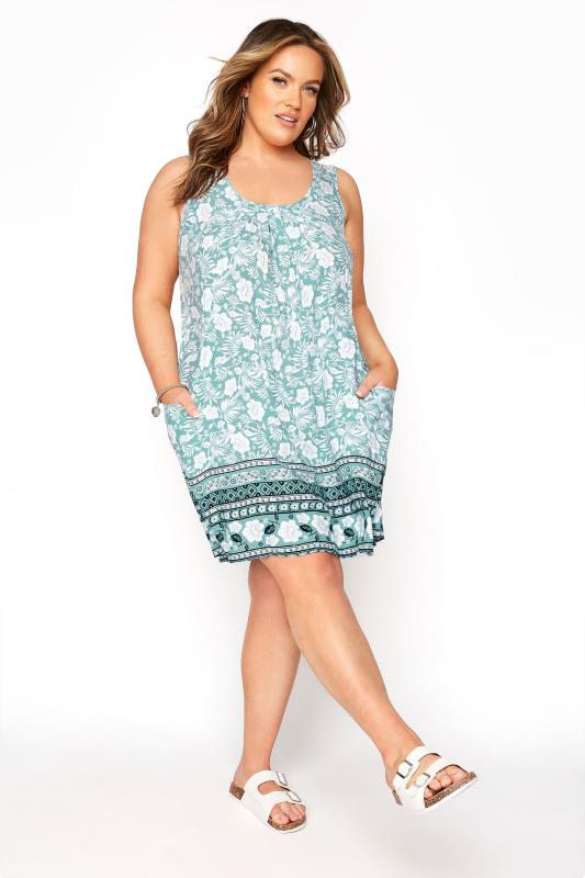 Plus Size  Green Floral Drop Pocket Dress