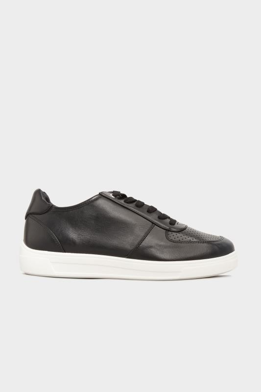 Black Vegan Leather Lace Up Trainers In Extra Wide Fit_A.jpg