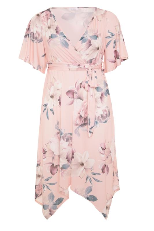 Plus Size  YOURS LONDON Pink Floral Wrap Cold Shoulder Hanky Hem Dress