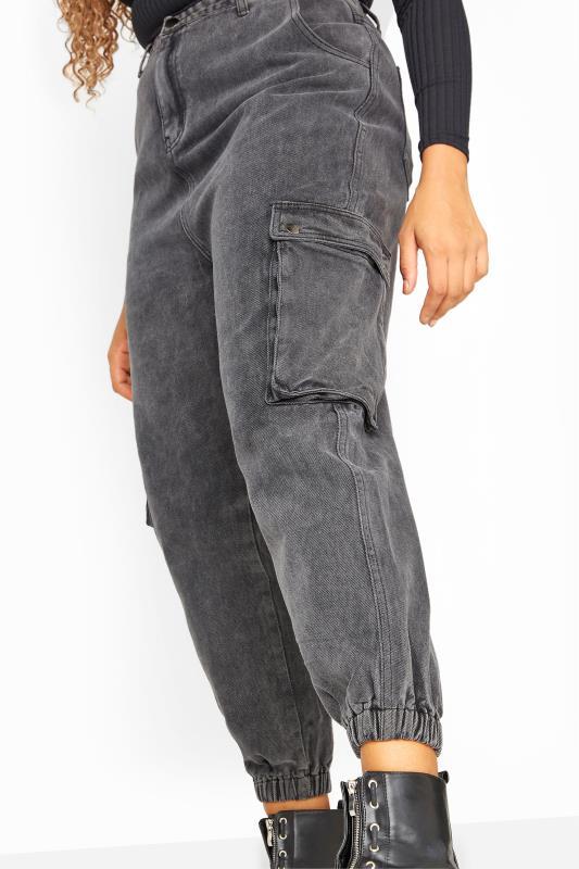 Grey Acid Wash Cargo Jeans