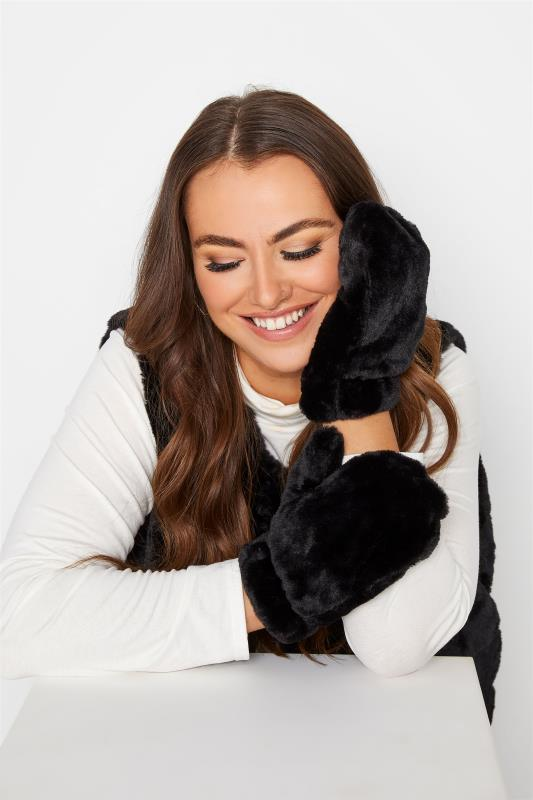 Tall  Yours Black Faux Fur Gloves