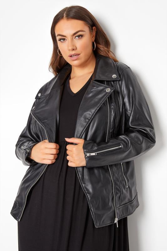 Plus Size  Black Faux Leather Jacket