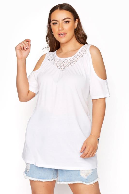 White Cold Shoulder Crochet Lace Top