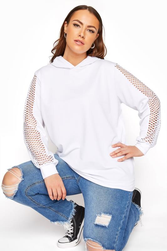 Plus Size  LIMITED COLLECTION White Fishnet Sleeve Hoodie