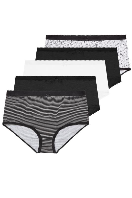 5 PACK Black & White Spot & Stripe Full Briefs