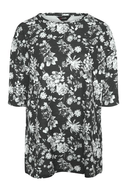 Black Floral Print Side Split Tunic_F.jpg