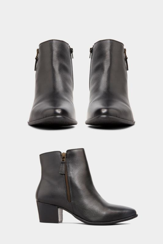 Black Leather Western Ankle Boots In Extra Wide Fit
