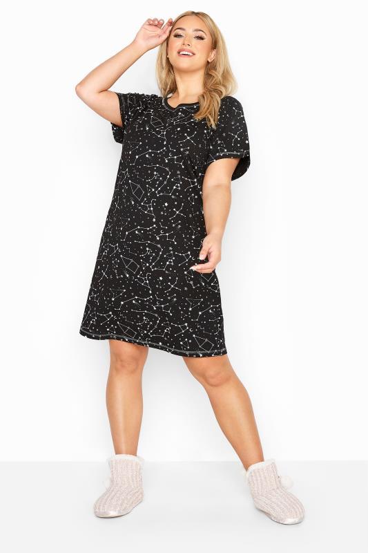 Black Astrology Constellation Glitter Nightdress