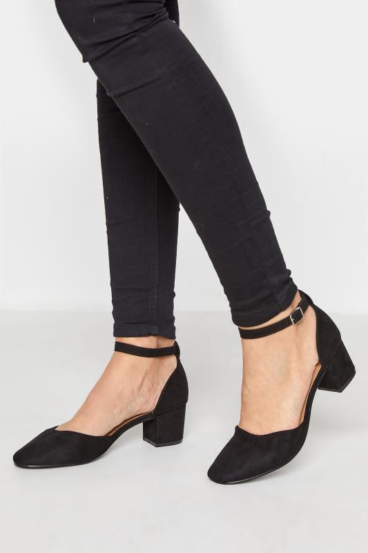 Tall  LTS Black Block Heel Court Shoes