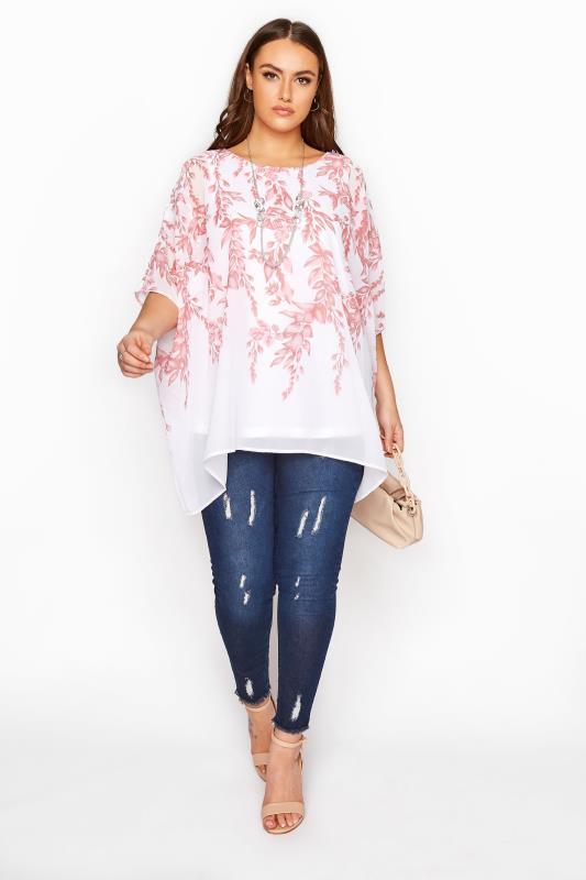 YOURS LONDON Pink Floral Cape Blouse