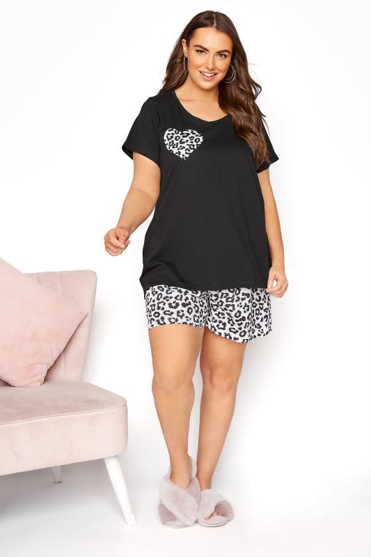 Black Leopard Print Heart Pyjama Shorts Set_A.jpg