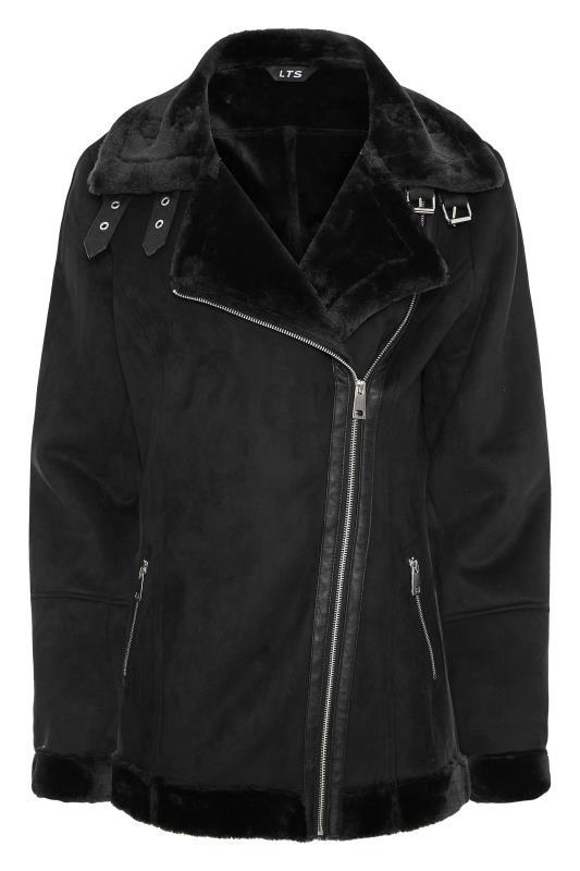 LTS Black Faux Fur Trim Aviator Jacket_F.jpg