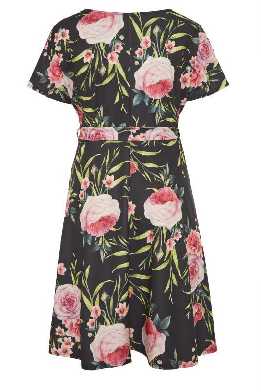 YOURS LONDON Black Floral Wrap Skater Dress_BK.jpg