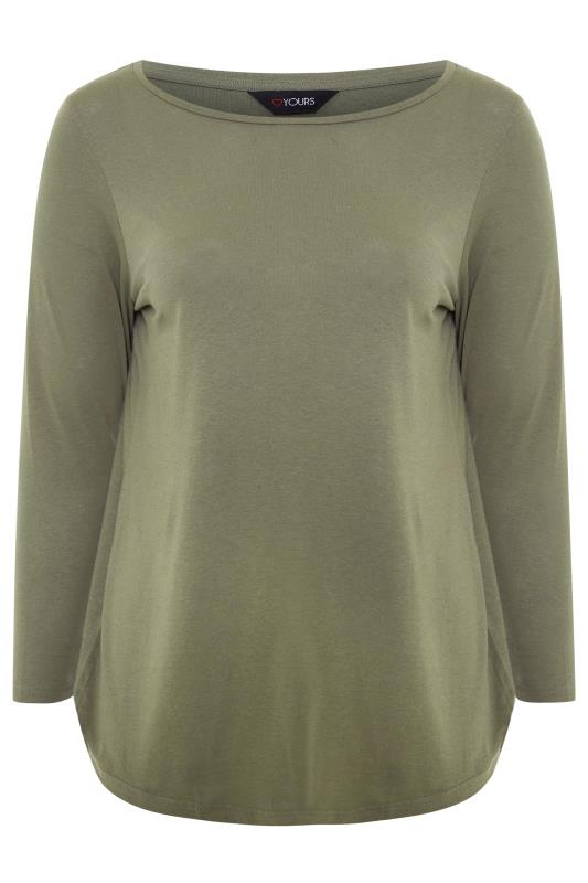 Khaki Cotton Long Sleeve Top