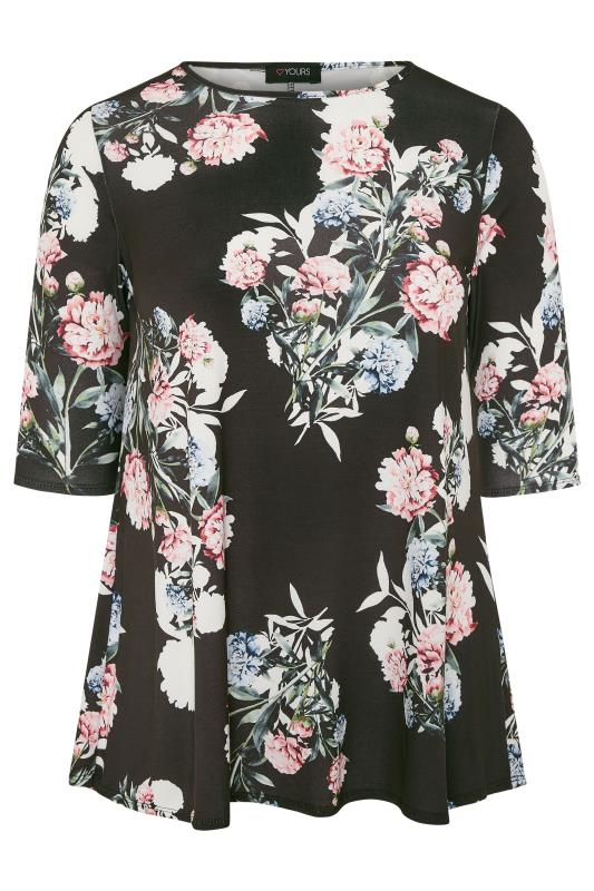 Plus Size Casual / Every Day Black Floral Print Jersey Swing Top