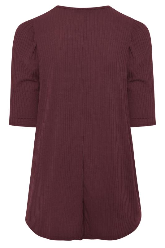 LIMITED COLLECTION Berry Purple Puff Sleeve Ribbed Top_BK.jpg