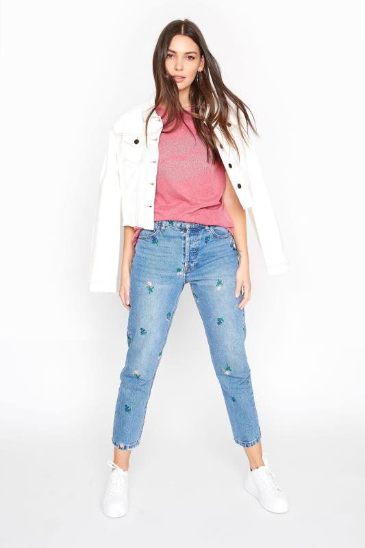Tall Jeans Blue All Over Embroidered Jean