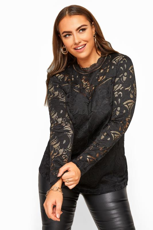 Plus Size Party Tops YOURS LONDON Black Lace High Neck Top