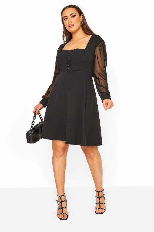 LIMITED COLLECTION Black Milkmaid Mesh Sleeve Skater Dress_B.jpg