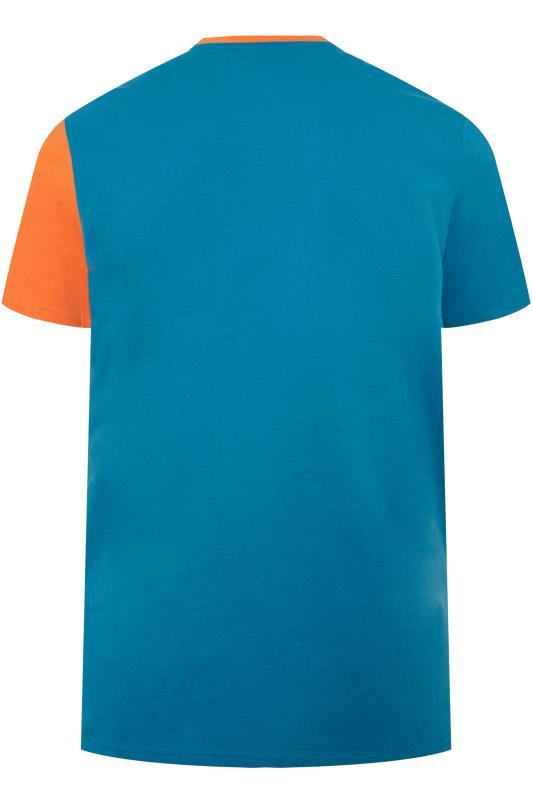 STUDIO A Blue & Orange Colour Block T-Shirt