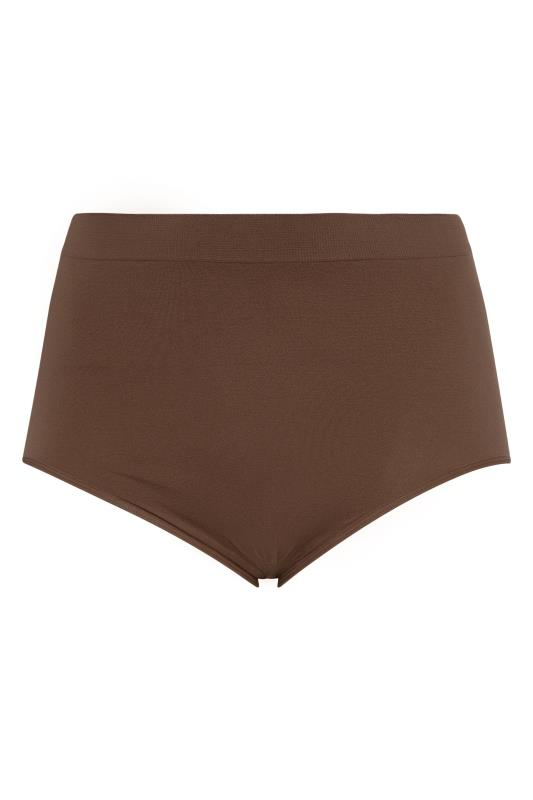 Plus Size  Brown Seamless Light Control Brief