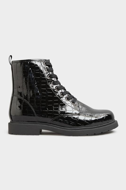 Black Patent Croc Chunky Lace Up Boots In Extra Wide Fit_B.jpg
