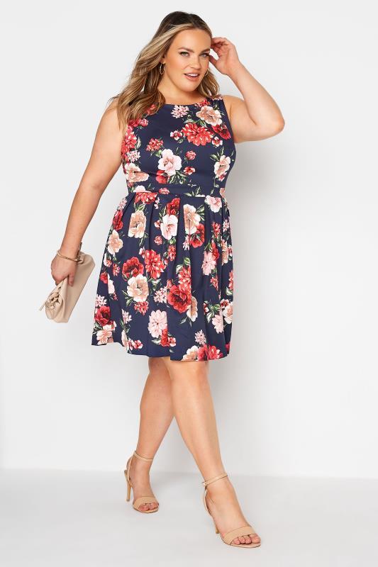 Plus Size  Navy Floral Print Skater Dress