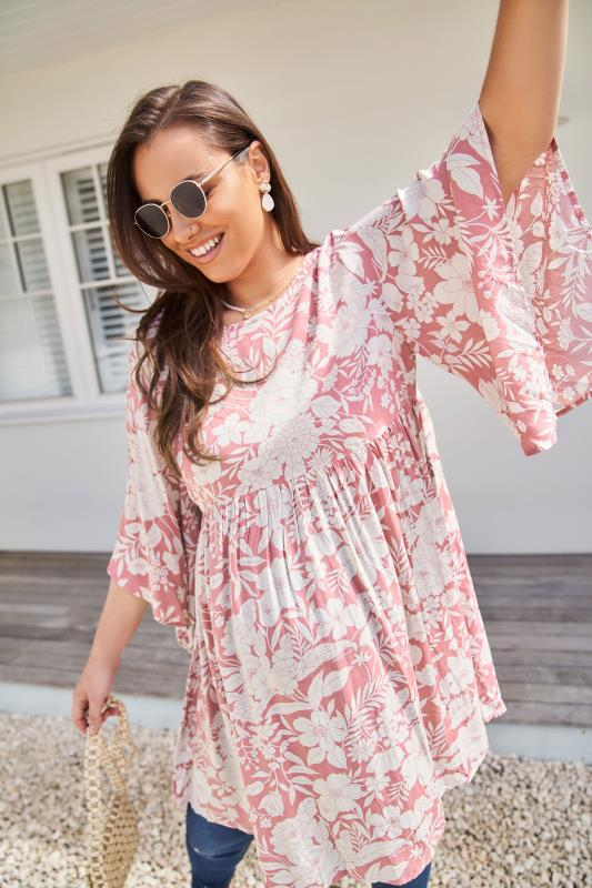 BUMP IT UP MATERNITY Pink Floral Smock Tunic_lifestyle-2.jpg