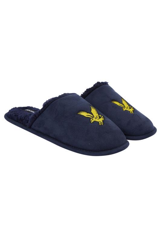 Plus Size  LYLE & SCOTT Blue Teddy Borg Trim Slippers