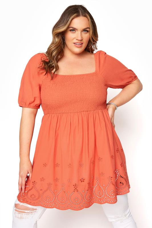 Plus Size  Rust Broderie Anglaise Shirred Peplum Top