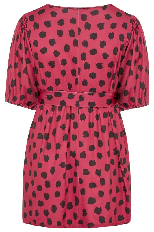 BUMP IT UP MATERNTITY Bright Pink Dalmatian Belted Top