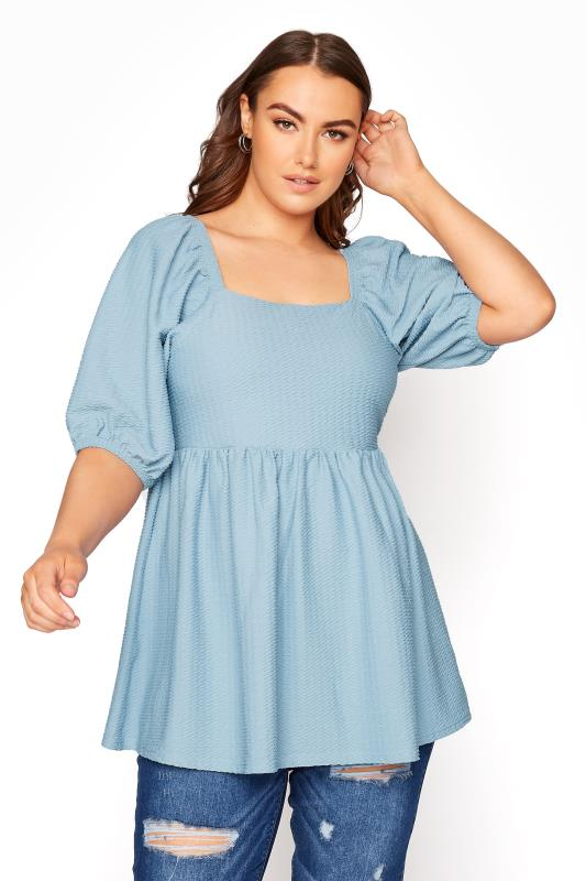Plus Size  LIMITED COLLECTION Baby Blue Square Neck Top