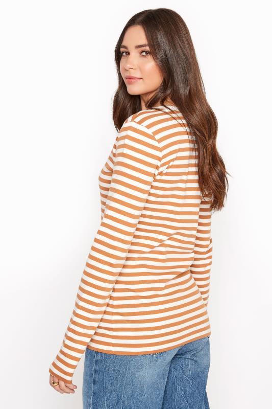 Tan Brown & White Stripe Long Sleeve Top