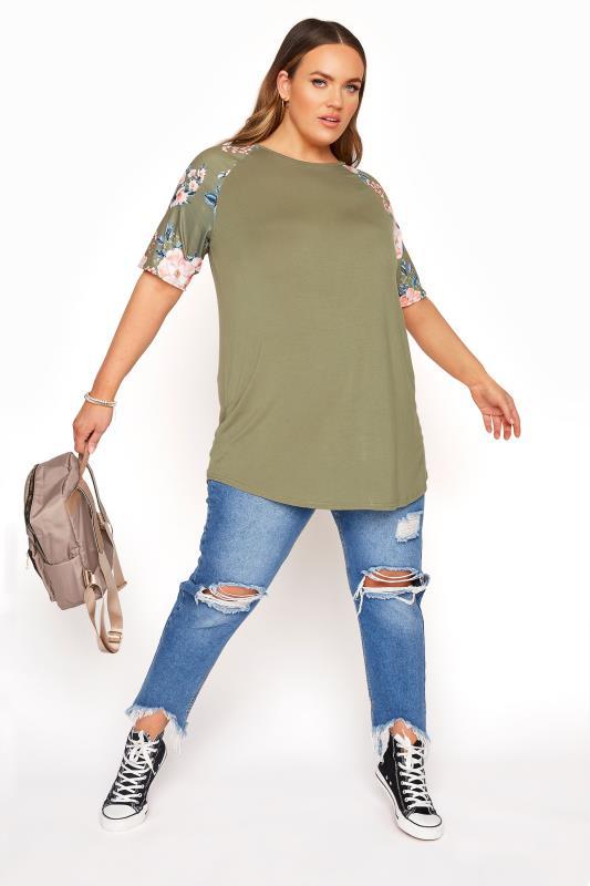 Khaki Floral Raglan Sleeve Top